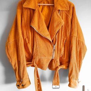 Free People - Yellow corduroy, bomber jacket